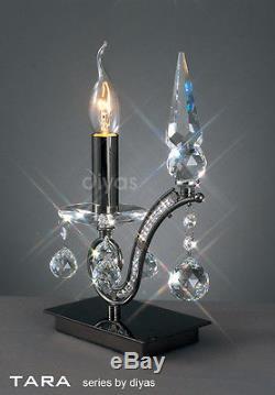 Lampe De Table Tara Crystal 1 Lumière Noir Chrome Avec Gradateur Sur La Base