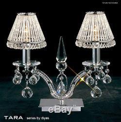 Lampe De Table Tara Crystal À 2 Ampoules Chromées Avec Gradateur (stores Non Inclus)