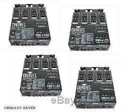 Lot De 4 Chauvet DMX 4 Led Relais Dimmer Switch Pack Dj Stage Club Éclairage