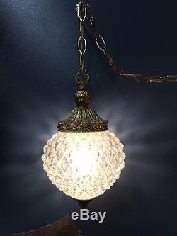 Lumière Accrochante De Lampe De Butin De Verre D'ananas Vintage Avec Le Commutateur De Gradateur