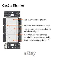 Lutron Caseta - Kit De Démarrage Pour Commutateur De Variateur D'éclairage Intelligent 2 Niveaux, P-bdg-pkg2w-a