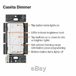Lutron Caseta - Kit De Départ De Commutateur De Variateur D'éclairage Intelligent À 2 Niveaux, P-bdg-pkg2w-a
