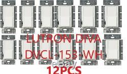 Lutron Diva Dvcl-153p-wh Interrupteur Variateur De Lumière Mural Cfl / Led 3 Voies 150w Slide 12pcs