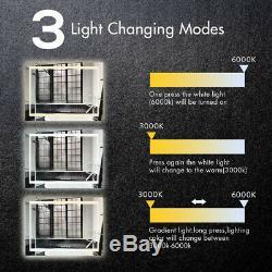 Miroir De Salle De Bains Fixé Au Mur 3x Magnifier Interrupteur Tactile Tactile Avec Variateur De Lumière Led