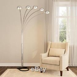 Moderne Contemporaine Arch Lampadaire 5 Bras Dimmer Interrupteur Satin Nickel Light Stand