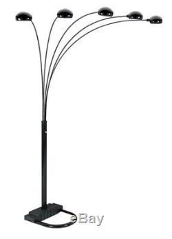 Noir Moderne Cinq Lumière Gradateur Ajustable Grand Lampadaire Décor