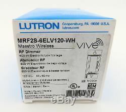 Nouveau Commutateur De Variateur De Lumière Sans Fil Mrf2s-6elv120-wh Rf Light Lutron 600w