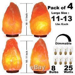 Paquet De 4 - Grand 10 10 Pouces Lampe De Sel Himalayenne Gradateur Ul Cordon Veilleuse