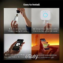 Philips Hue Wi-fi Starter Kit / Bridge / Gradateur / Ampoule Led B22 Blanche