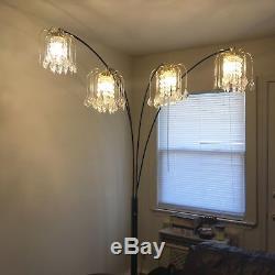 Pied De Lampe En Métal Bras De Lumière Arche Interrupteur De Gradateur Base En Marbre 4 Abat-jours