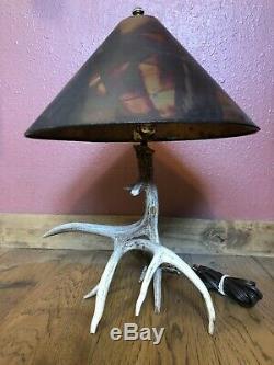 Rustique Antler Table Deer Lampe Avec Abat-jour En Cuivre Massif Et Gradateur