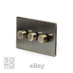 Soho Lighting Antique Brass 3 Gang 2 Way Led Bord Arrière Gradateur 250w