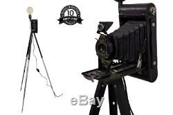 Upcycled Vintage Antique Pliant Kodac Caméra Trépied Lampe / Gradateur