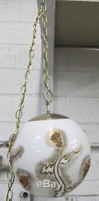 Vintage MID Century 12 Globe Orbe Swag Plafonnier Avec Interrupteur