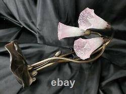 Vintage Style Tiffany Rose Verre 3 Lumière Lilly Lampe 16 Commutateur Luminosite